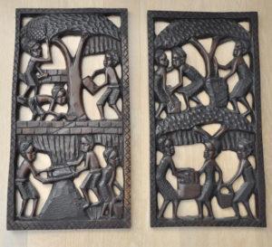 afrikanische geschnitzte holz brett dekoration / carved wood décor decor, Berlin, African decor