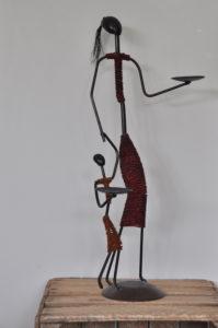 afrikanische metall skulptur kerzenhalter afrika / metal beads sculpture candle holder, Africa