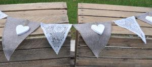 Girlande weiss spitze jute herzen / bunting white lace hessian jute heart