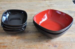Keramikgeschirr Zebra Rose Dekoverleih decor hire schale salad bowl