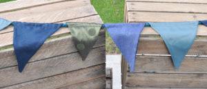 wimpelkette grün blau satin aqua / green blue satin aqua