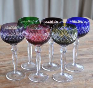 Farbige Kristallgläser, verleih, Berlin, colourful crystal wineglasses, hire