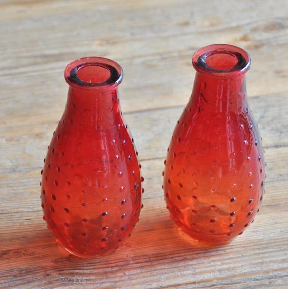 Red Small Vases Zebra Rose