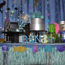 Fabric fish motifs kids theme party under the sea decor hire berlin berlin dekoverleih fisch deko kindergeburtstag mottoparty Zebra Rose